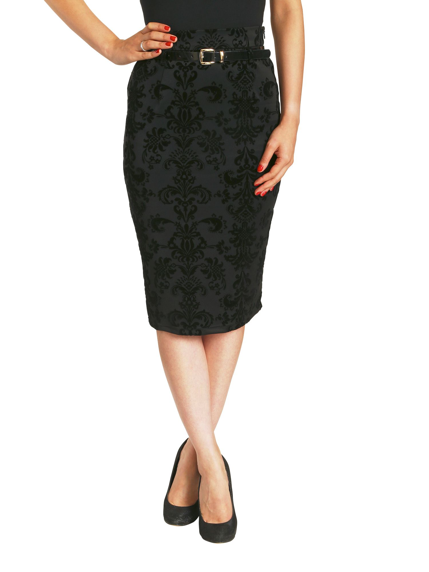 Baroque belted pencil skirt