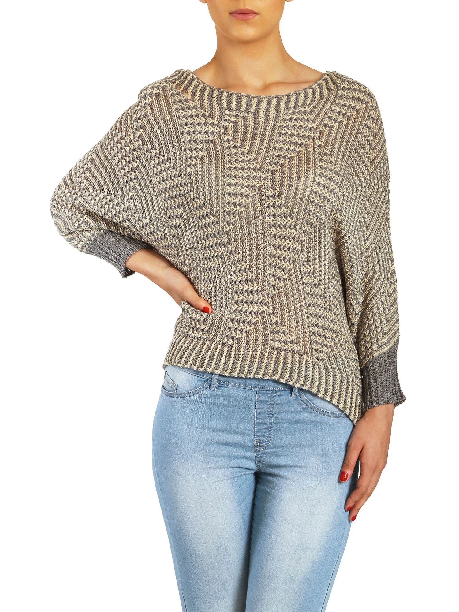 Oversized batwing knit top