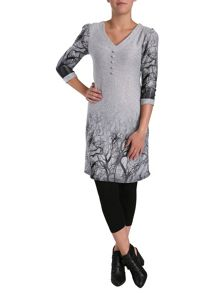 A line knit dress in winter tree print