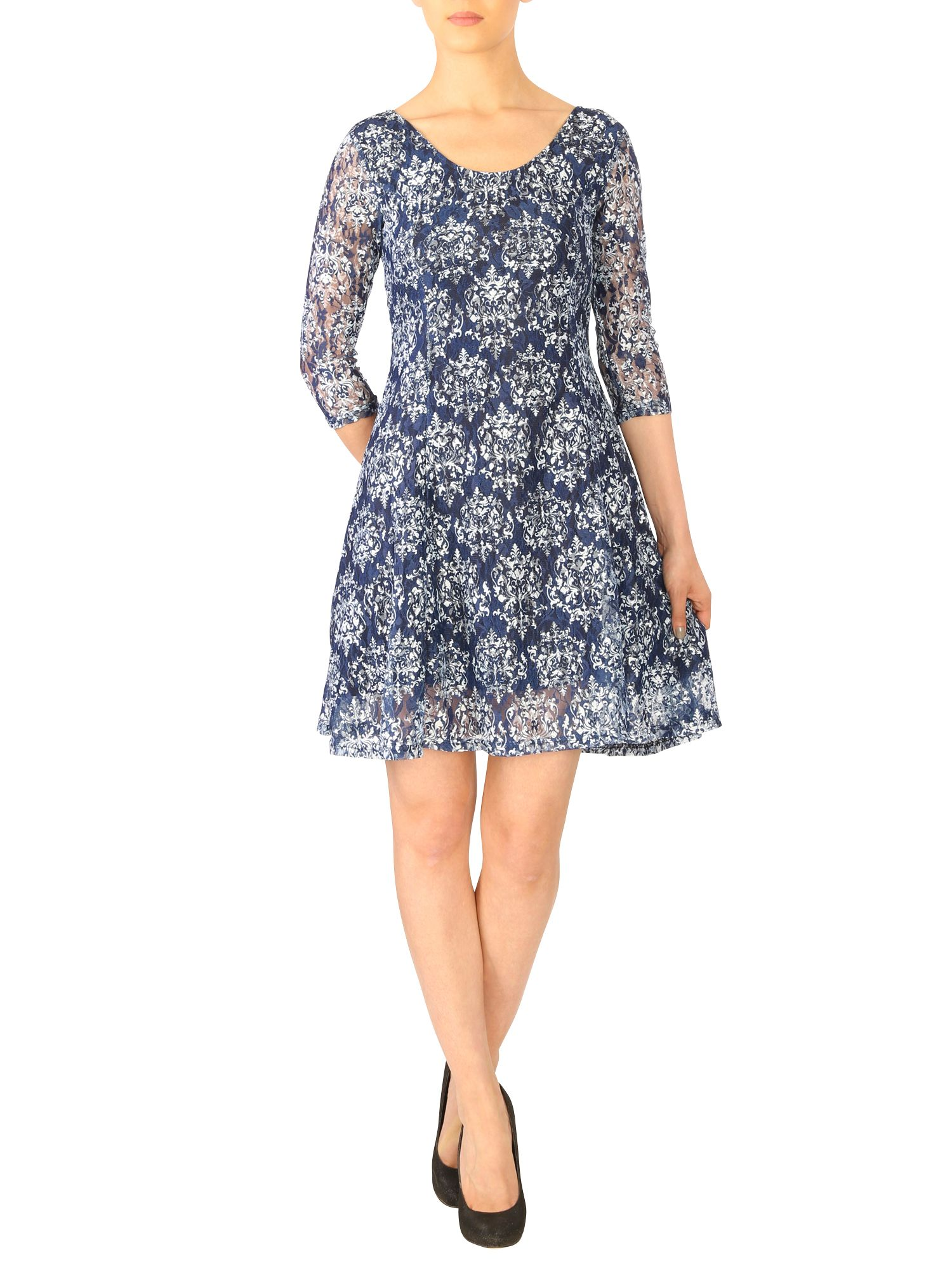 Lace baroque print dress