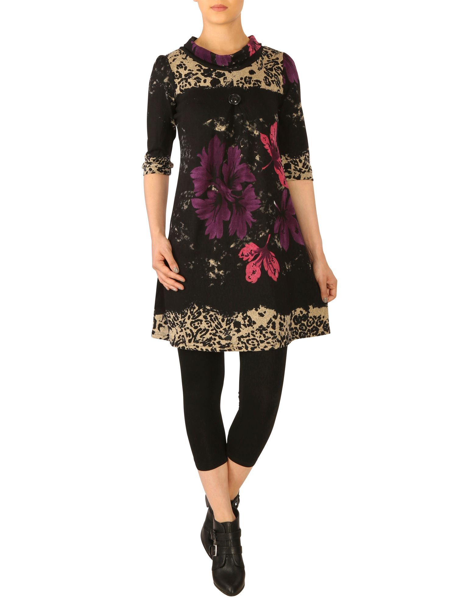 Cowl neck floral tunic dress
