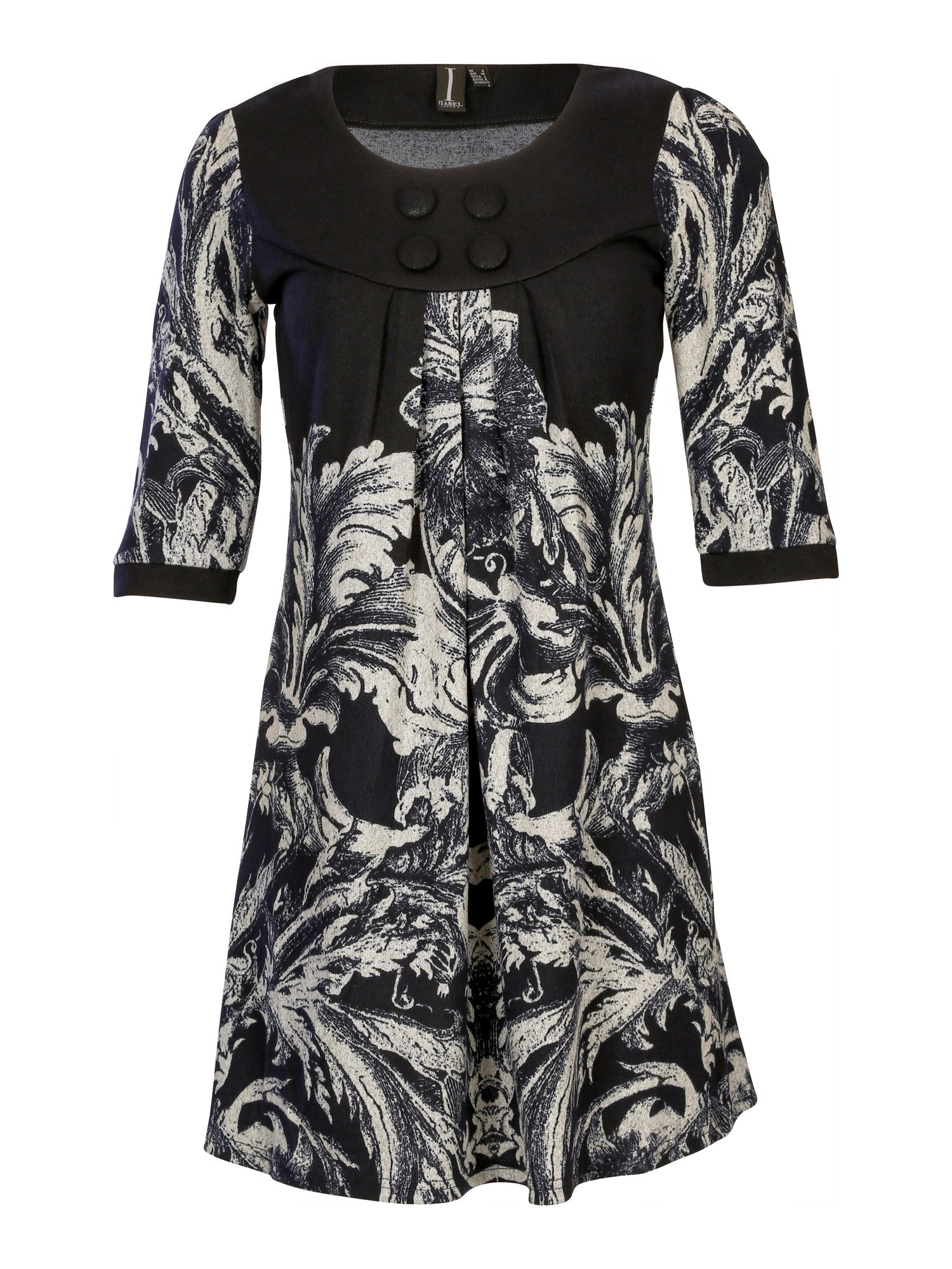 Contrast baroque leaf dress
