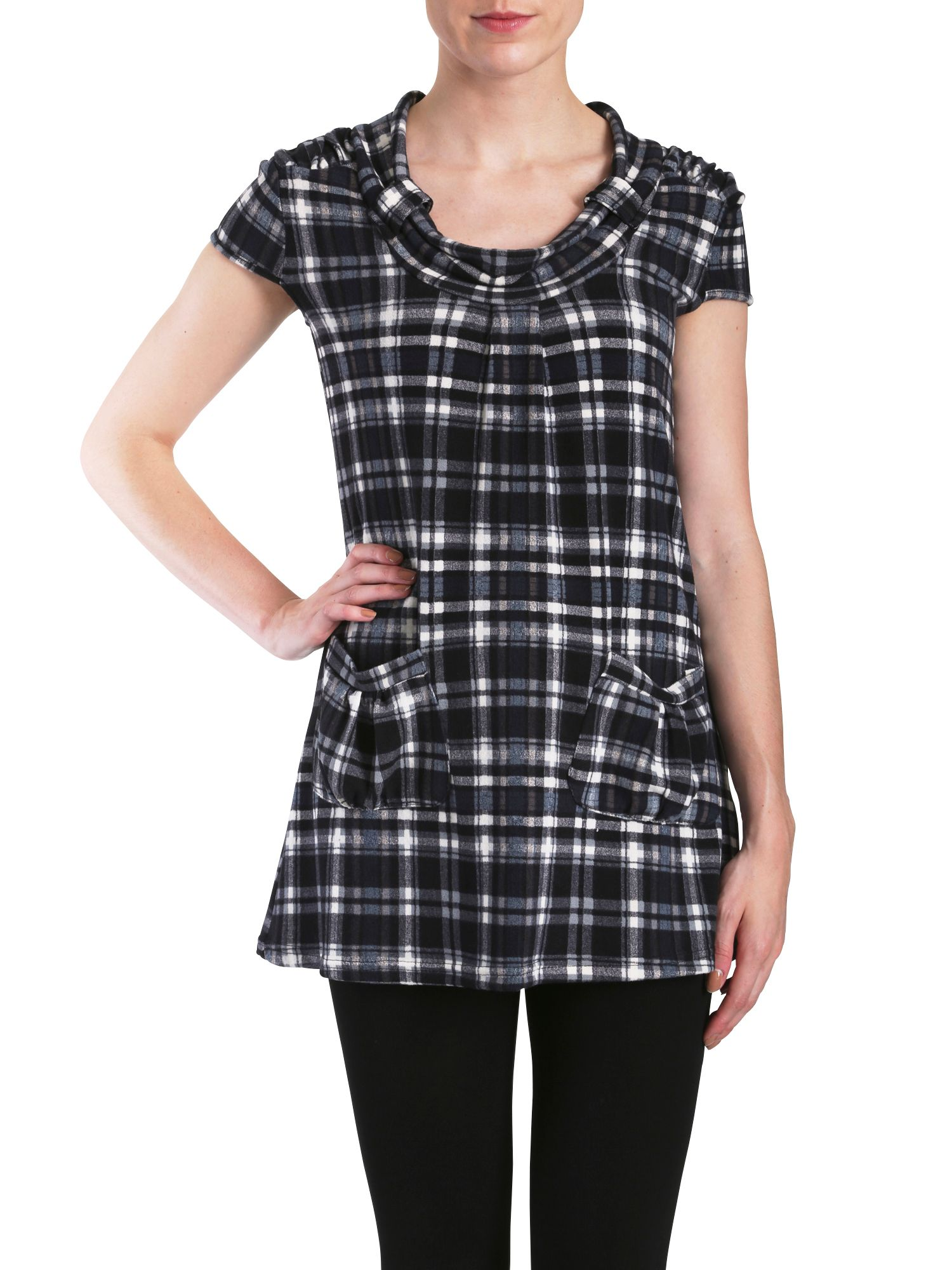 Cowl neck pocket tunic in tartan