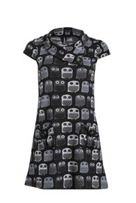Izabel Owl Print Button Detail Dress