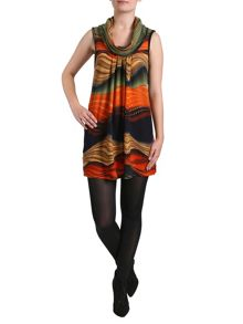 Izabel Cowl Neck Multiprint Tunic