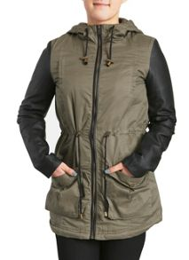 Contrast Sleeves Parka  Jacket