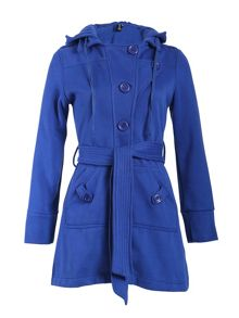 Belted Button Detail Coat