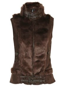 Faux Fur Buckle Gilet