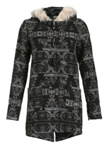 Aztec Faux Fur Hood Coat