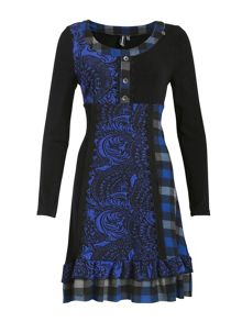 Checked Lace Trim Dress