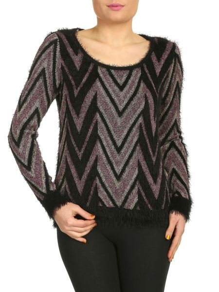 Izabel London Metallic Thread Knitted Pullover