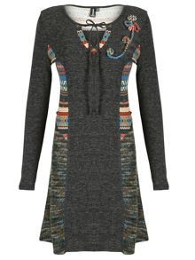 Embroidered Aztec Dress