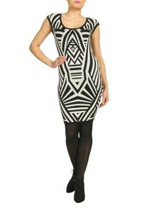 Geometric Bodycon Knitted Dress