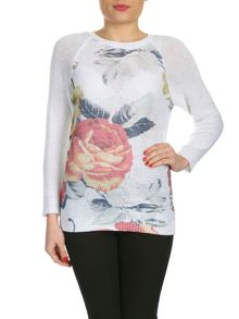 Sequin Floral Print Pullover