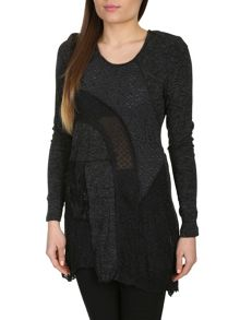 Perforated Lace Panel Top