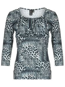 Gathered Leopard Print Top