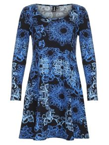 A-Line Abstract Print Dress