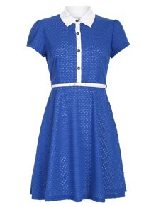Belted Perforated Detail Dress