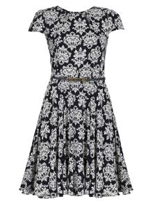 Belted Baroque Print Dress