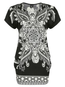 Embellished Eastern Print Top