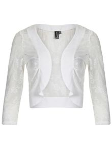 Cropped Woven Trim Cardigan