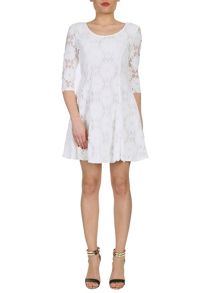 Darted Floral Lace Dress