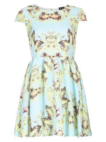 Floral Butterfly Print Dress