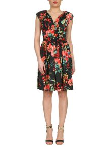 Gathered Floral Print Dress