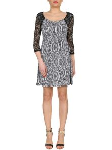 Lace Eastern Print Dress