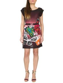 Belted Butterfly Print Dress