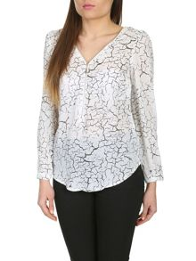 Abstract Print Top With Front Zip