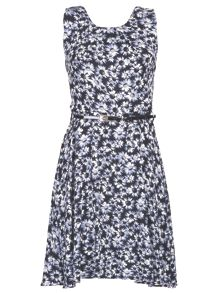 Daisy Print Belted Dress