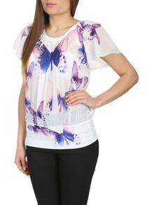 Beaded Butterfly Print Top
