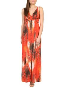 Graphic Feather Print Maxi Dress