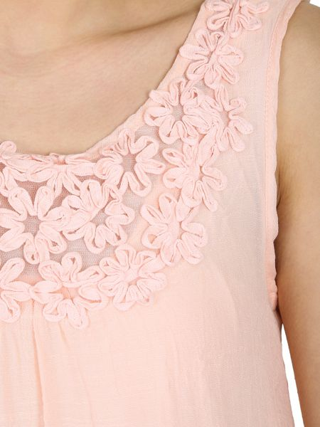 Izabel London Floral Trim Detail Top