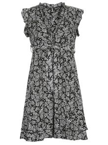 Frilled Paisley Print Dress