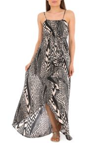High Low Abstract Print Maxi Dress