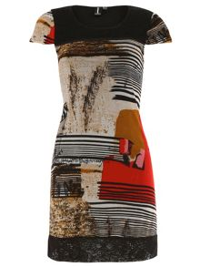 Abstract Stripe Tunic Dress