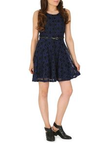 Fit and Flare Dress with Lace Overlay