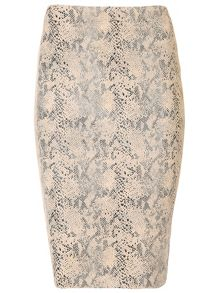 Faux Snakeskin Pencil Skirt