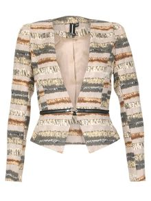 Abstract Horizontal Stripe Print Jacket