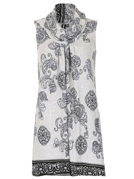 Izabel London Long Length Tunic with Checked Print