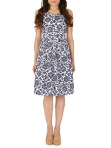 Chrysanthemum Print Midi Dress