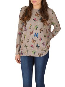 Knitted Butterfly Printed Top