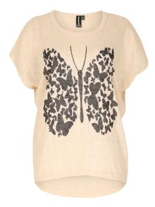 Graphic Butterfly Print Top