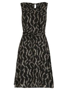 Feather Print Fit and Flare Midi Dress