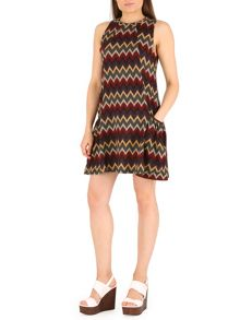 Knitted Swing Dress with Chevron Print