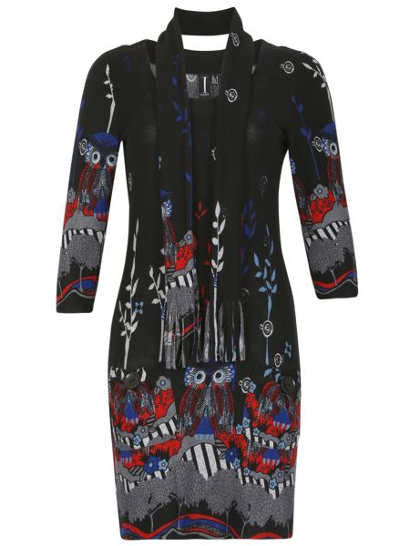 Izabel London Owl Print Knitted Dress
