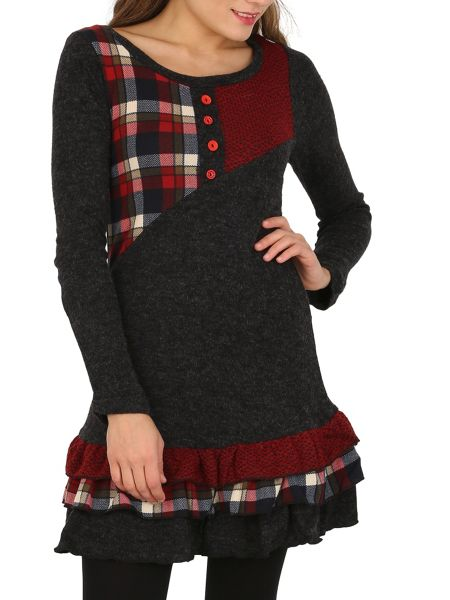 Izabel London Patchwork Knit Dress with Tiered Skirt