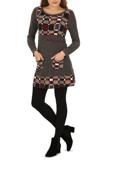 Izabel London Noughts and Crosses Fit and Flare Dress